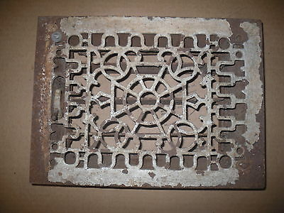 Vintage Cast Iron Floor or Wall Grate w/Damper louvers ornate, antique
