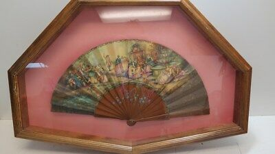 Beautiful Antique Hand Painted Ladies Fan in Shadow Box Frame