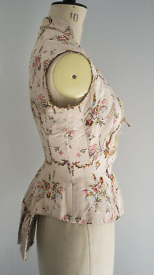 Antique/vintage part made 19th C boned bodice made from 18th C woven silk