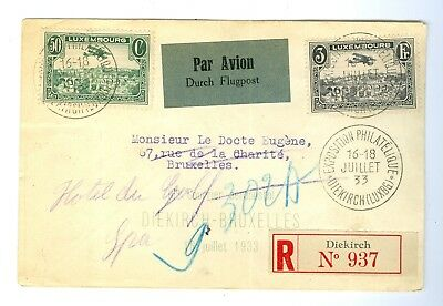Luxembourg Stamps Cover air-Mail. Year 1933.Est:$150
