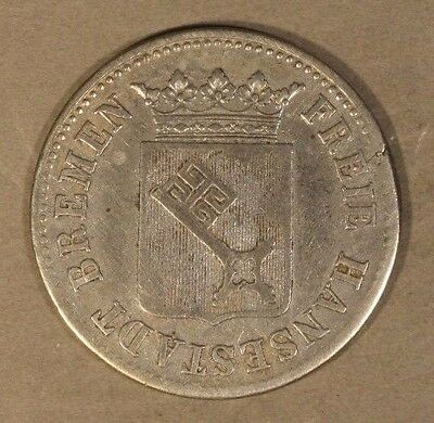 1846 German State Bremen City 12 Grote Silver Key Date ** FREE U.S. SHIPPING **