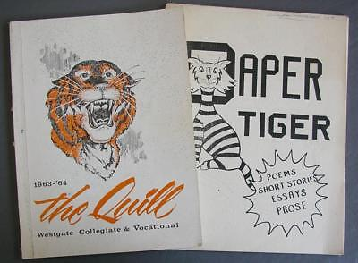 1963-64 The Quill Westgate Yearbook Plus Paper Tiger Poems/Short Stories Booklet