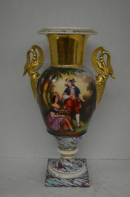 Antique Paris Porcelain Hand Painted and Gilt Urn