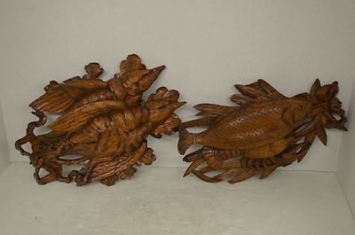 Vintage Carved Wood Black Forest Game and Fishing Trophies
