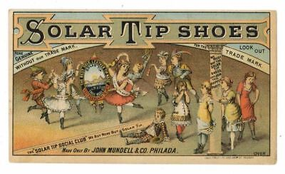 SOLAR TIP SHOES, Victorian Trade Card, 296, Philadelphia, Pennsylvania