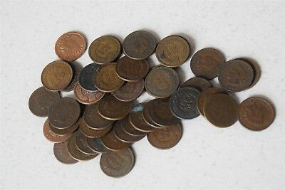 Lot of 50 Circulated Random Indian Head Cents *Free S/H After 1st Item*