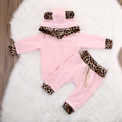 2PCS Newborn Baby Girls Kids Hooded Tops Shirt+Long Pants Outfits Set Tracksuit