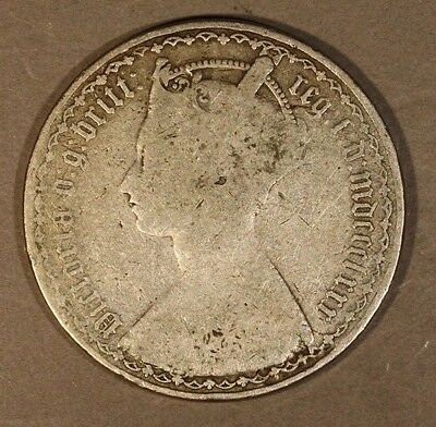 1880 Great Britain Gothic Florin Circulated Silver       ** FREE US SHIPPING **