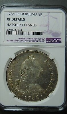 1786Pts Pr Bolivia 8 Reales Ngc Xf Details