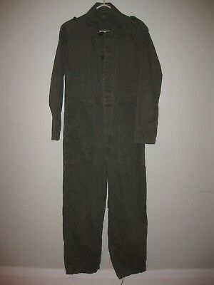 "Vintage 1974 Army Green Mechanics Work Coveralls Men's Large 28"" inseam"