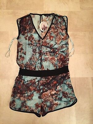 Ladies Ted Baker London Cherry Blossom Playsuit Dress Top Size 14 Blue