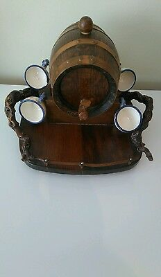Collectable Vintage Hand Crafted Ornament, Wine Barrel with Cups