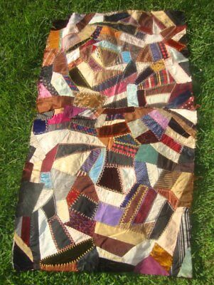ANTIQUE CRAZY QUILT 2 PC SILK VELVET PIECED Embroidered CUTTER late 1890's