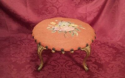 Antique Victorian Floral Foot Stool with Cast Iron Legs Very Cool!!!