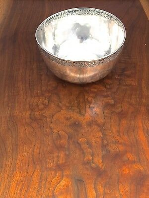Chinese Export 19thC Sterling Silver Bowl with Decorated Rim