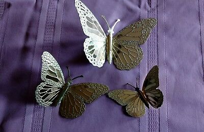 """Home Interior / Homco Set Of 3 """"monarch Butterfly Plaques Brass-Plated"""