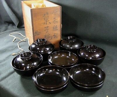 Japanese Antique Signed Set Of 7 Brown Lacquer Bowls