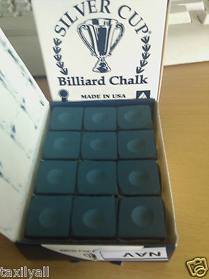 NAVY BLUE Quality USA Silver Cup Pool Snooker Billiard Table Cue Chalk 12 Pcs