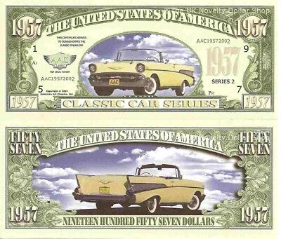 1957 Chevrolet  American Classic Car Dollar Bills x 4