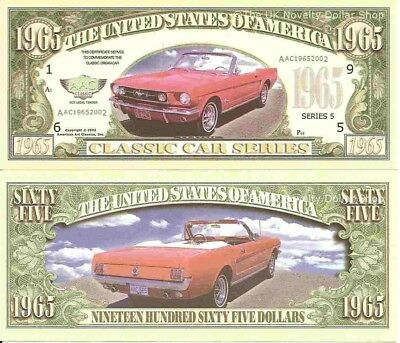 1965 Mustang American Classic Car Dollar Bills x 4