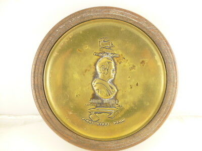 1912 John Deere Brass Metal Ashtray Coin Change Holder w/ Base