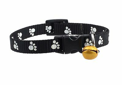 Cat Small Dog Puppy Collar with bell COLOUR SELECTION Paw Pattern Back
