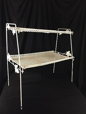 Shabby Wire Metal Rack Vintage Two Tiers  Long Kitchen Bathroom Collapsible