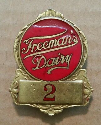 Freeman's Dairy,Allentown,Pa.,Delivery Man's Enameled Hat Badge,1920's-30's