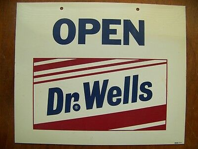 Dr Wells soda OPEN CLOSED plastic store advertising sign Dr Pepper immitator