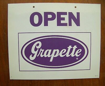 Grapette soda Open Closed advertising plastic 1971 store sign 10x12