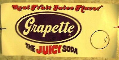 """Grapette The Juicy Soda advertising poster 11x24"""" 1970s vintage"""