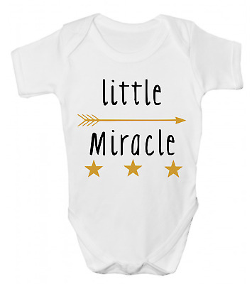 LITTLE MIRACLE Cute Funny Baby Grow Bodysuit Vest