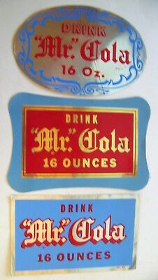 Mr Cola lot of 3 large advertising decals 16 Oz Grapette product