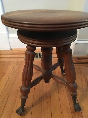 Antique Piano Stool Claw Feet