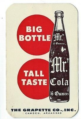 Mr Cola soda advertising calendar card 1962 with bottle picture Grapette Company