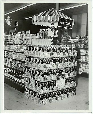 Mr Cola soda store display B&W glossy photo w sign Miracle Whip Wesson Oil Jello