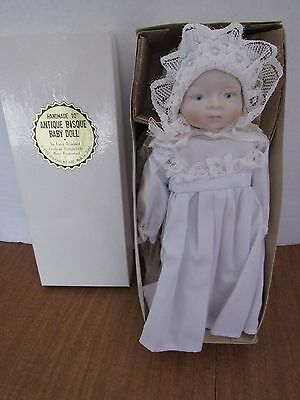 """Vintage Shackman 10"""" """"Antique Bisque Baby Doll Reproduction Christening Gown"""