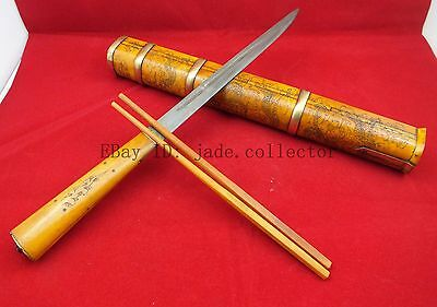 collection Mongolia bone carving Dragon travel knife knife chopsticks decoration
