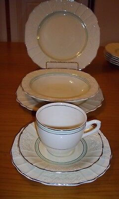 Vintage MYOTT & Son Co. Dinner set 36 pc. Cream Colour Silver & Green Stripes
