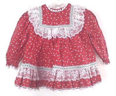 Vintage Infant Girls Bryan Red Floral Pattern Dress Size 12m Lace Fall Holiday