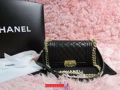 c12d7e3ee74f Auth 2017 CHANEL SMALL LE BOY Black Lambskin Quilted Flap Bag Matte Gold