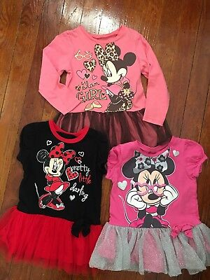Lot Of 3 Disney Minnie Mouse Girls Tunic Tutu Skirt Tops / Size 3T