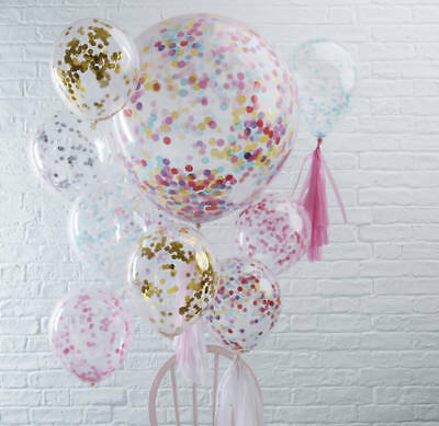 3pcs White & Rose Gold Confetti Balloons 1st Birthday Wedding Engagement Party D