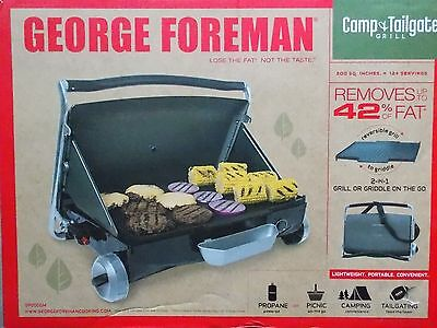 George Foreman Camp Tailgate 2 in 1 Grill or Griddle on the Go ~ NEW Black