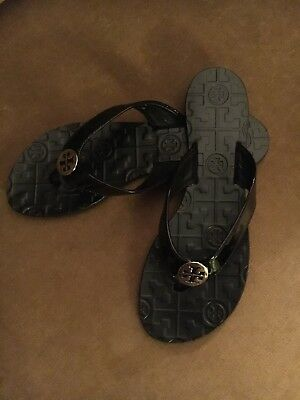 TORY BURCH AUTHENTIC Flip Flops Sandals Black Leather Thora Women's Size 6M*NEW*
