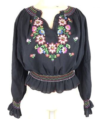 Vtg Oaxacan 70s Hand Smocked Black Embroidered Mexican Top Blouse Shirt Oaxaca