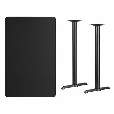 30'' x 48'' Rectangular Black Laminate Table Top with 5'' x 22'' Bar Height T...