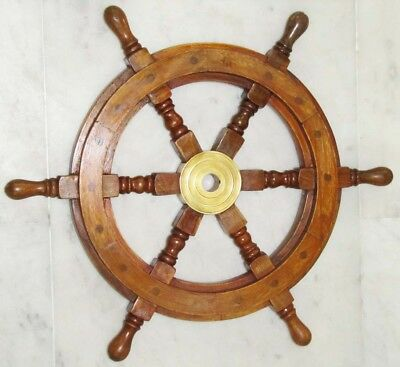 "Nautical Ship Wheel Pirate Captain 18"" Brass Wooden Ship Wheel"
