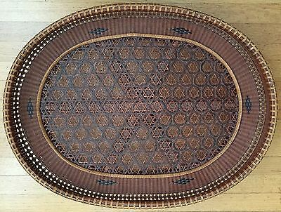 Gorgeous Antique American, Asian Or Japanese, Very Detailed Bamboo Tray, 19Th C