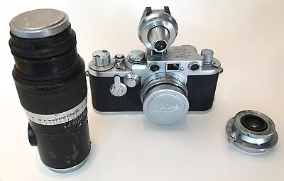 Superior Leica IIIf Red Dial w/Self-Timer Body & Three Leitz Lenses & Finder